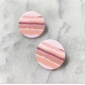 Sunset Summer Circle Earring Studs Abstract Pink
